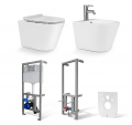 Zestaw 6w1-Miska WC + Bidet NEVE Moca MINI +Stelaż do WC + Stelaż do bidetu