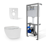 Zestaw WC RIMLESS 4w1- Miska WC NEVE  Rodos MINI +Stelaż do WC +mata