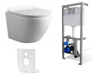 Zestaw WC RIMLESS 4w1: Miska WC NEVE  Rodos MINI SLIM +Stelaż do WC +mata
