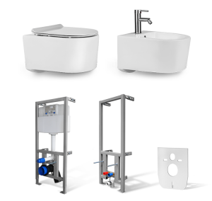 Zestaw 6w1- Miska WC + Bidet NEVE Morena MINI +Stelaż do WC + Stelaż do bidetu