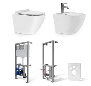 Zestaw 6w1- Miska WC NEVE Rodos MINI RIMLESS + Bidet Rodos MINI +Stelaż do WC i Bidetu