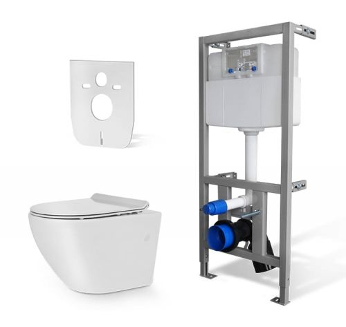 Zestaw WC RIMLESS- Miska WC NEVE  Rodos MINI +Stelaż do WC +mata