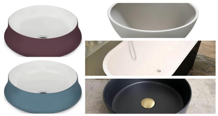 Разноцветные раковины.  Самая большая тенденция в обустройстве ванной